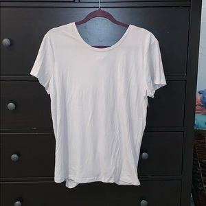 Grey tee with foldover back detail